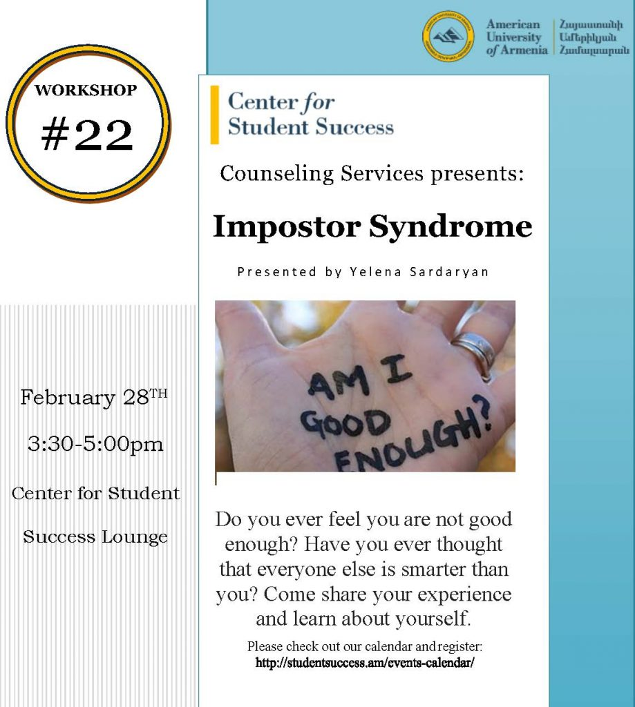 Workshop #22 Impostor Syndrome